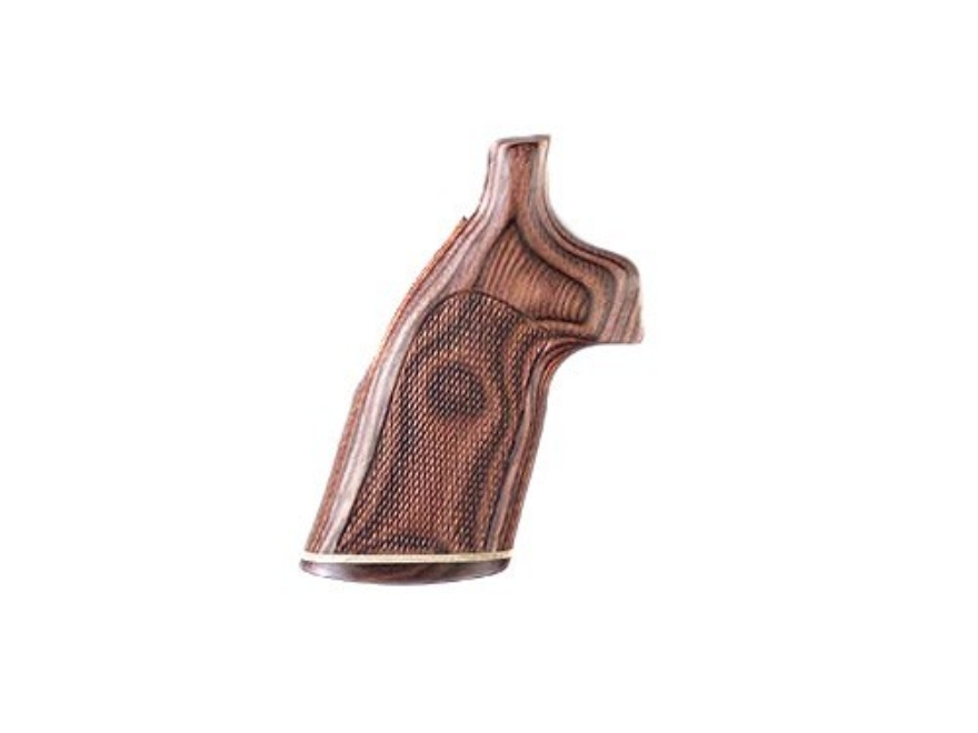 Hogue Fancy Hardwood Grips with Accent Stripe S&W N-Frame Round Butt Checkered
