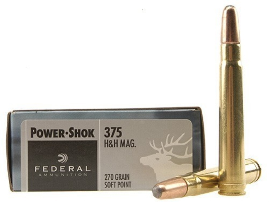 Federal Power-Shok Ammo 375 H&H Mag 270 Grain Soft