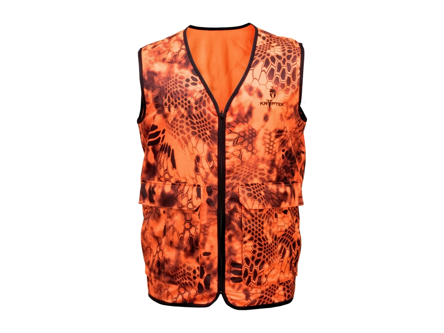 Kryptek Men's Vesuvius Safety Vest Reversible Polyester Blaze Orange and Inferno Camo