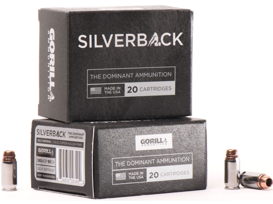 Gorilla Silverback Self Defense Ammunition 380 ACP 95 Grain Hollow Point Copper Lead-Free