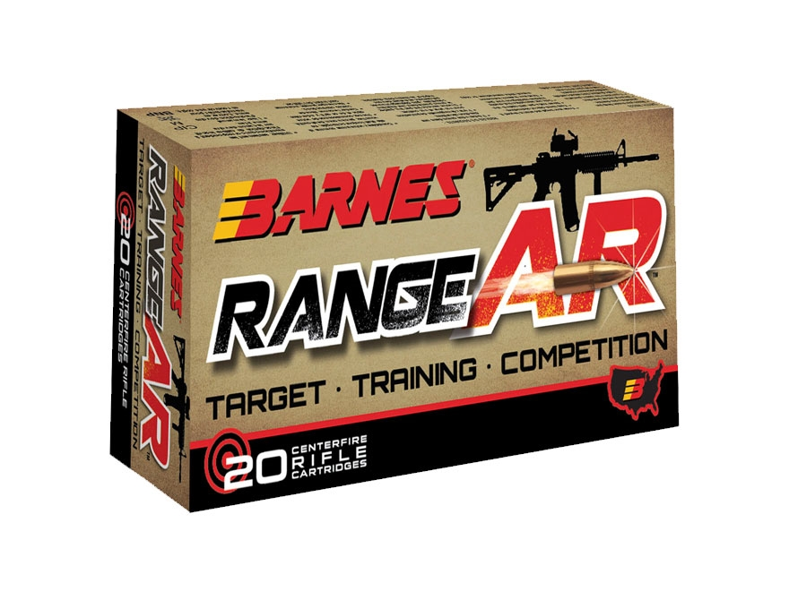 Barnes RangeAR Ammunition 5.56x45mm NATO 52 Grain Open Tip Flat Base Lead-Free Box of 20