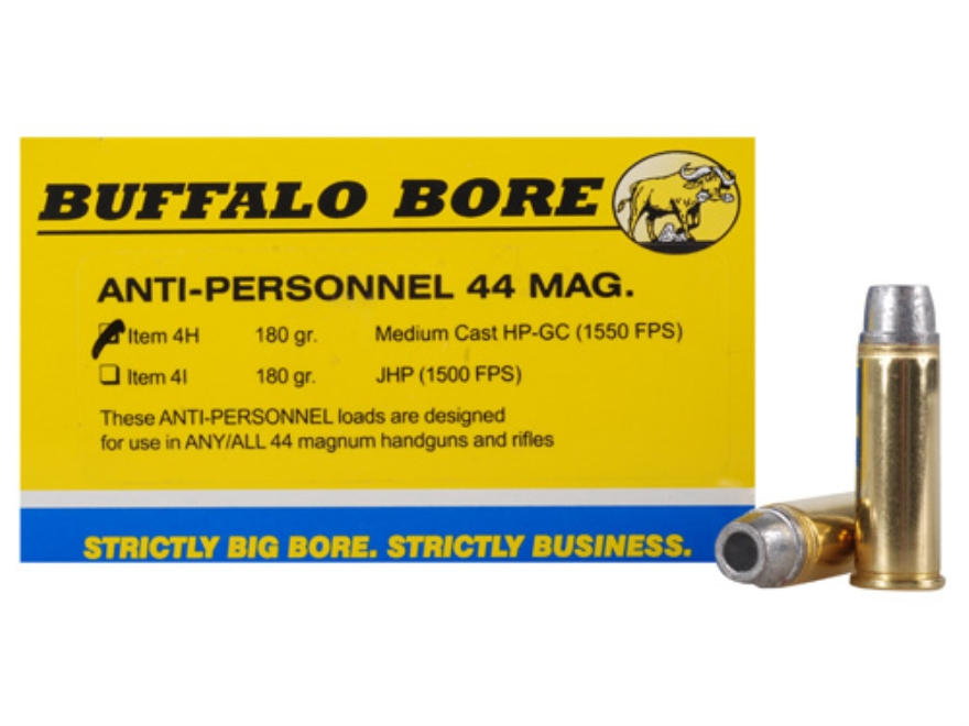 Buffalo Bore Ammunition 44 Remington Magnum 180 Grain Medium Cast Hollow Point Gas Chec...