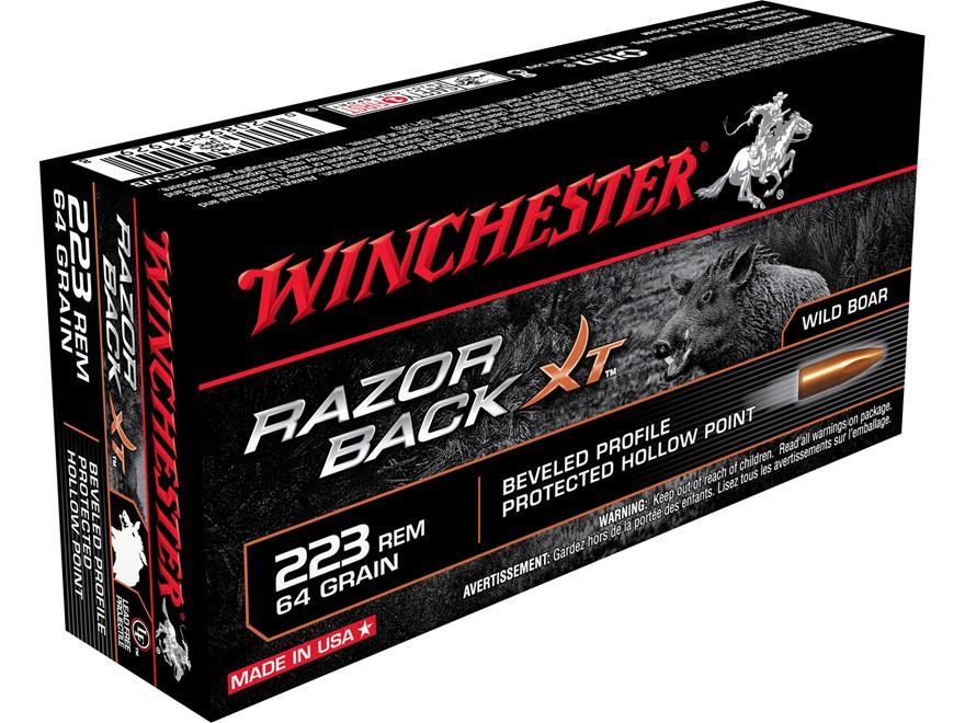 Winchester Razorback XT Ammunition 223 Remington 64 Grain Hollow Point Lead-Free