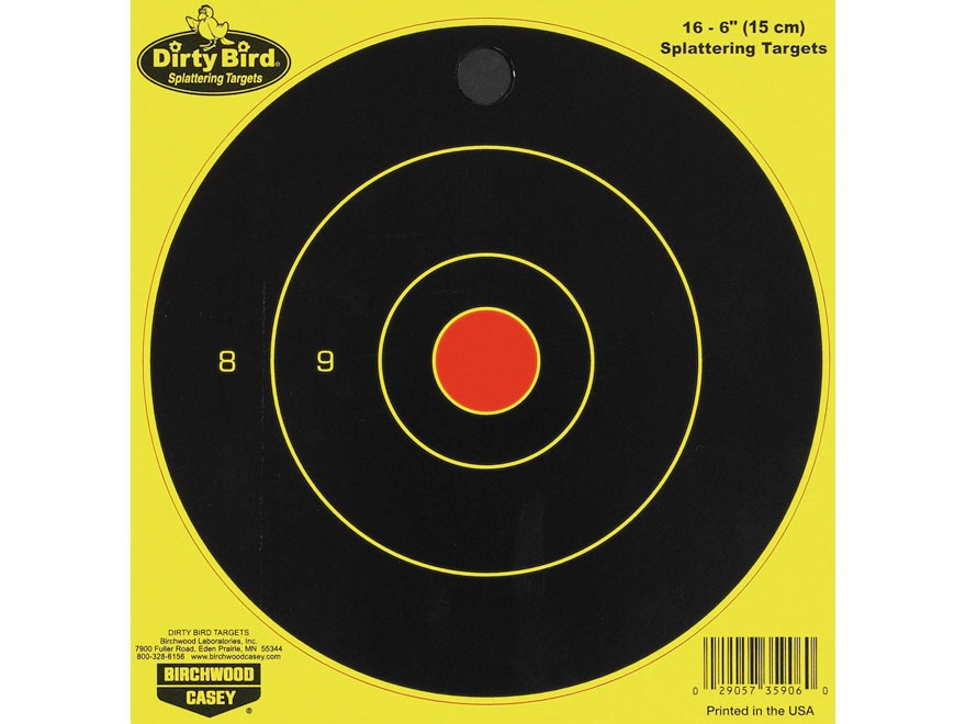 "Birchwood Casey Dirty Bird Chartreuse 6"" Bullseye Targetss Package of 16"