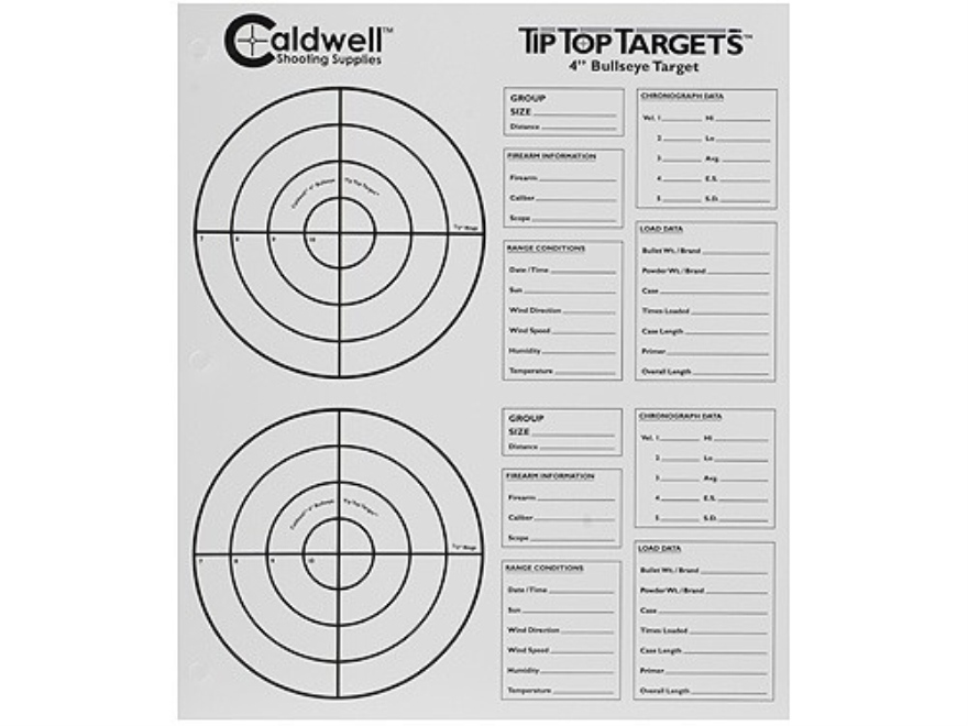 "Caldwell Tip Top Target 4"" Bullseye Package of 25"