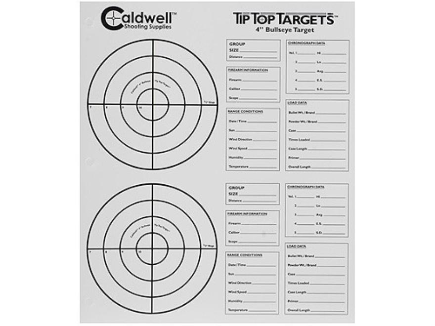 """Caldwell Tip Top Target 4"""" Bullseye Package of 25"""