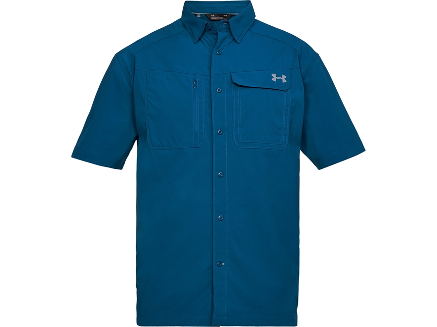 Under Armour Men's UA Fish Hunter Solid Button-Up Shirt Short Sleeve Nylon