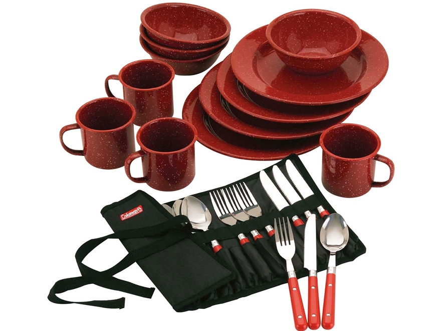 Coleman 24-Piece Dinnerware Set Red