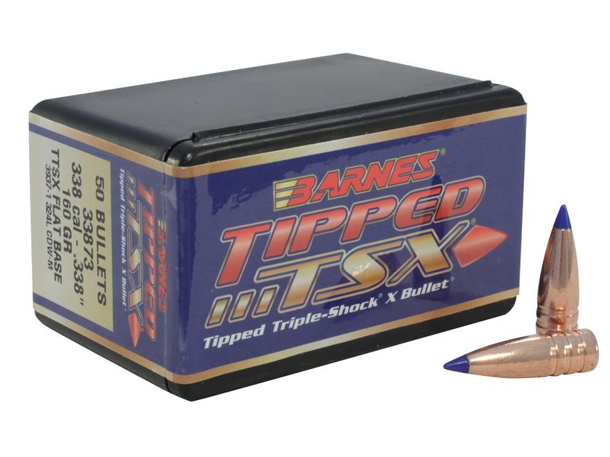 Barnes Tipped Triple-Shock X Bullets 338 Caliber (338 Diameter) 160 Grain Spitzer Flat ...