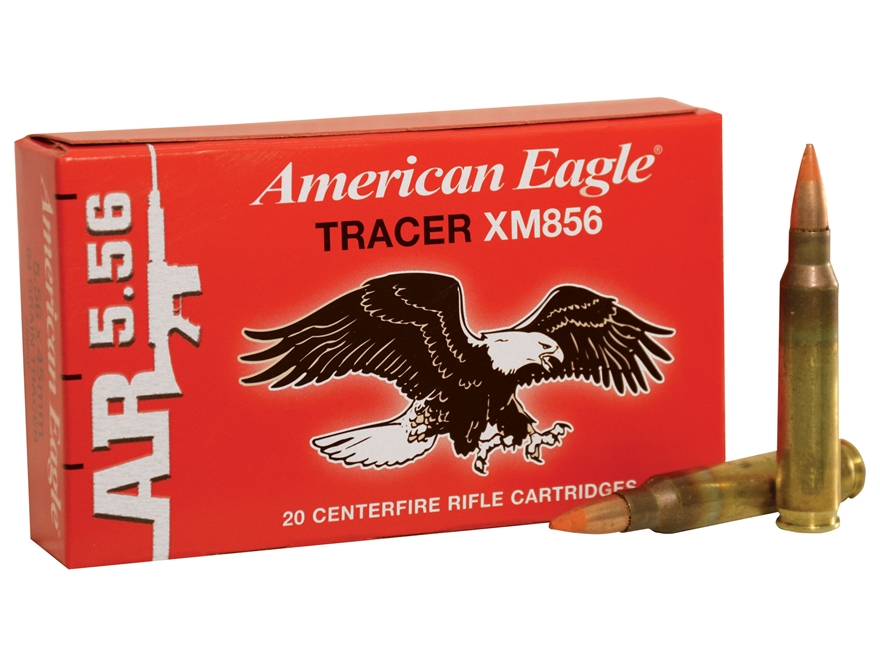 Federal American Eagle Tactical Tracer Ammunition 5.56x45mm NATO 64 Grain XM856 Full Me...