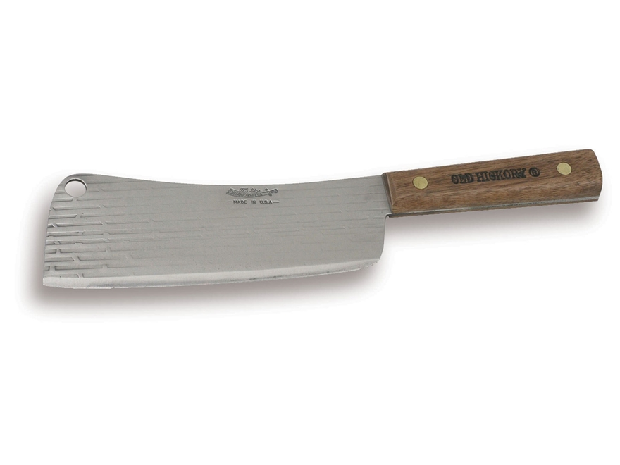 """Ontario Old Hickory 76-7"""" Cleaver 7.5"""" 1095 Carbon Steel Blade Hardwood Handle"""