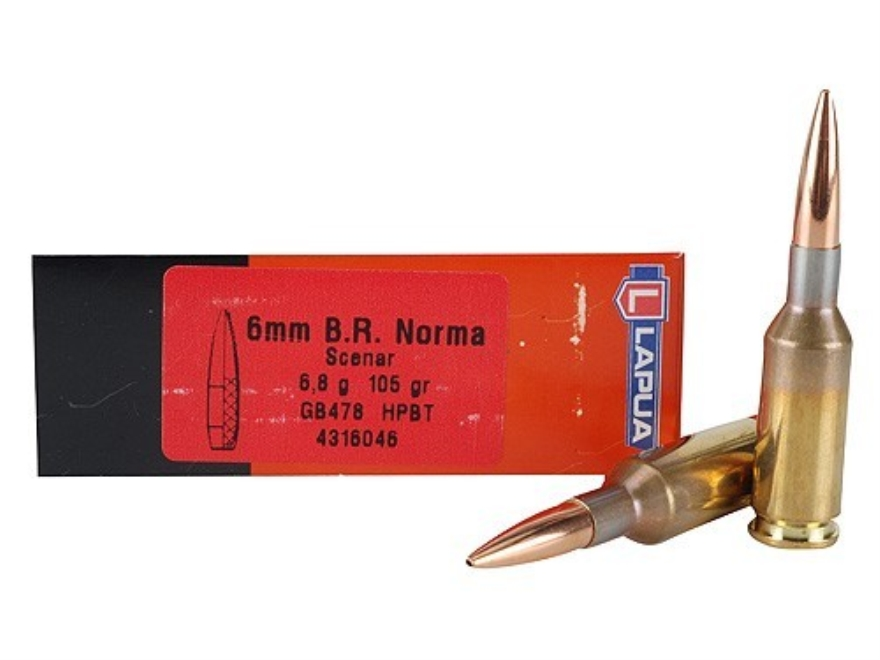 Lapua Scenar Ammunition 6mm Norma BR (Bench Rest) 105 Grain Hollow Point Boat Tail Box ...