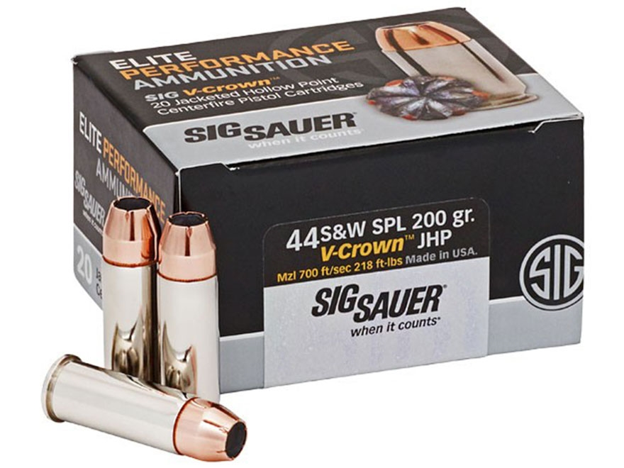 Sig Sauer Elite Performance Ammunition 44 Special 200 Grain V-Crown Jacketed Hollow Poi...
