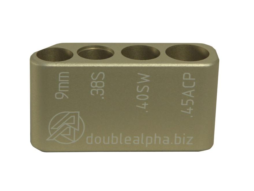 Double-Alpha Golden Multi Caliber Cartridge Gauge 9mm, 38 Super, 40 S&W, 45 ACP Anodize...