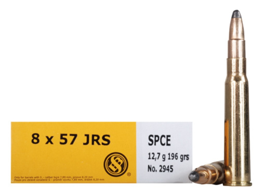 Sellier & Bellot Ammunition 8x57mm JRS (8mm Rimmed Mauser) 196 Grain Soft Point Cutting...