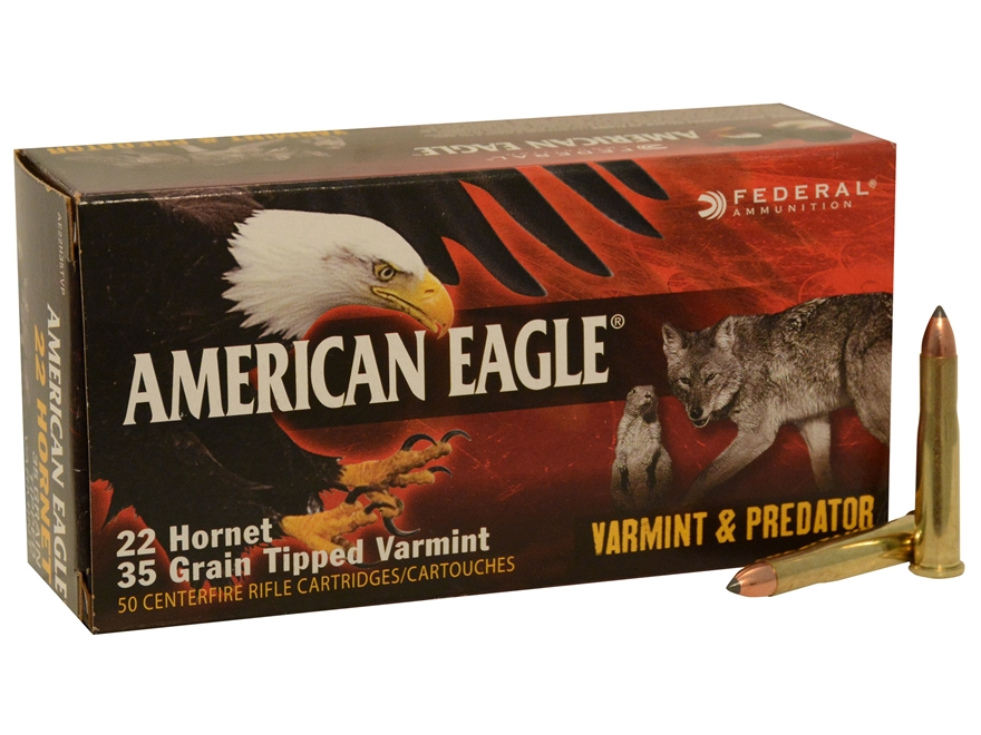Federal American Eagle Ammunition 22 Hornet 35 Grain Tipped Varmint Box of 50