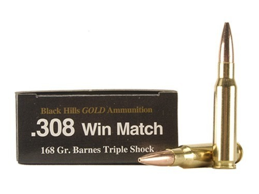 Black Hills Gold Ammunition 308 Winchester 168 Grain Barnes Triple-Shock X Bullet Hollo...