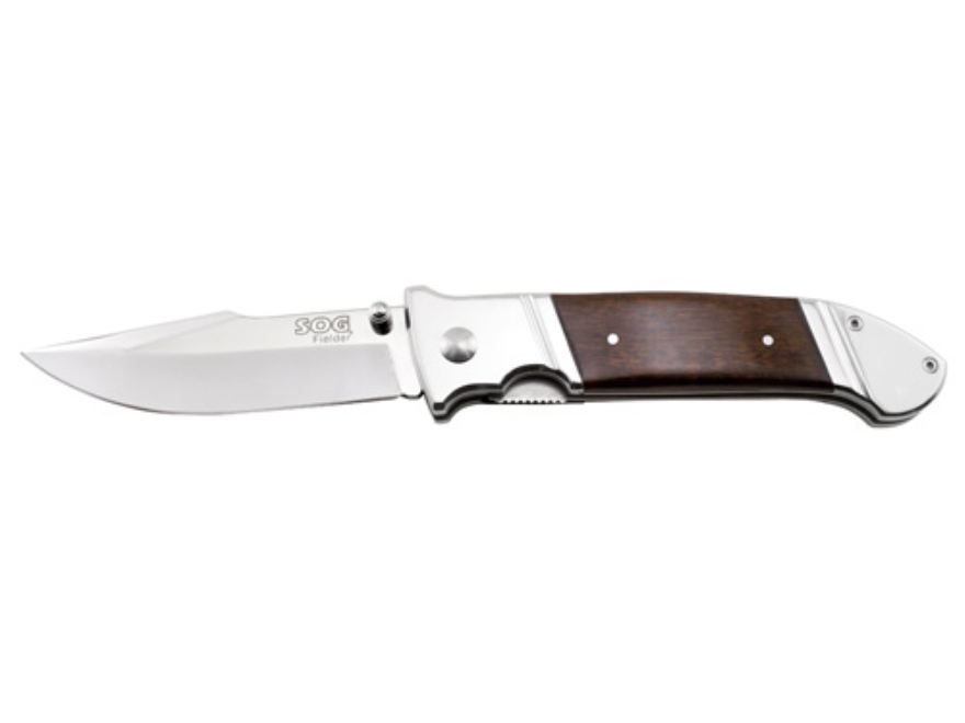 "SOG Fielder XL Folding Knife 4.125"" Clip Point 7Cr13 Stainless Steel Blade Wood Handle ..."