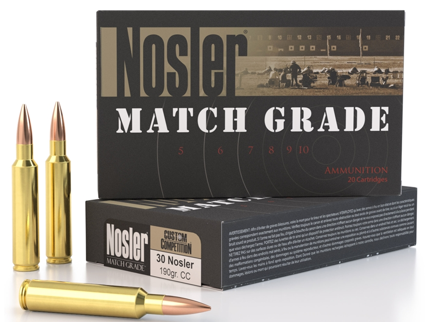 Nosler Match Grade Ammunition 30 Nosler 190 Grain Custom Competition Hollow Point Boat ...