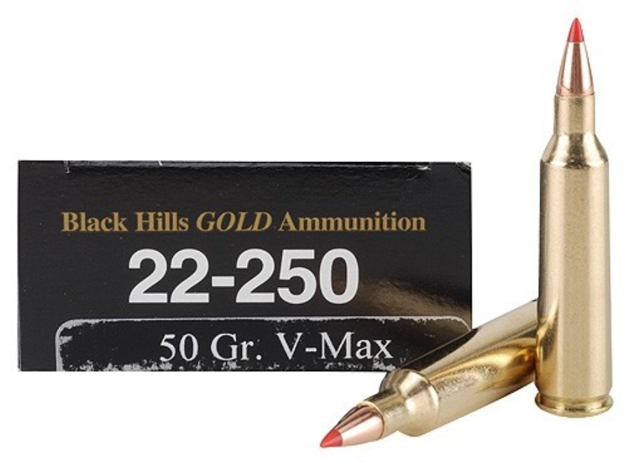 Black Hills Gold Ammunition 22-250 Remington 50 Grain Hornady V-Max Box of 20