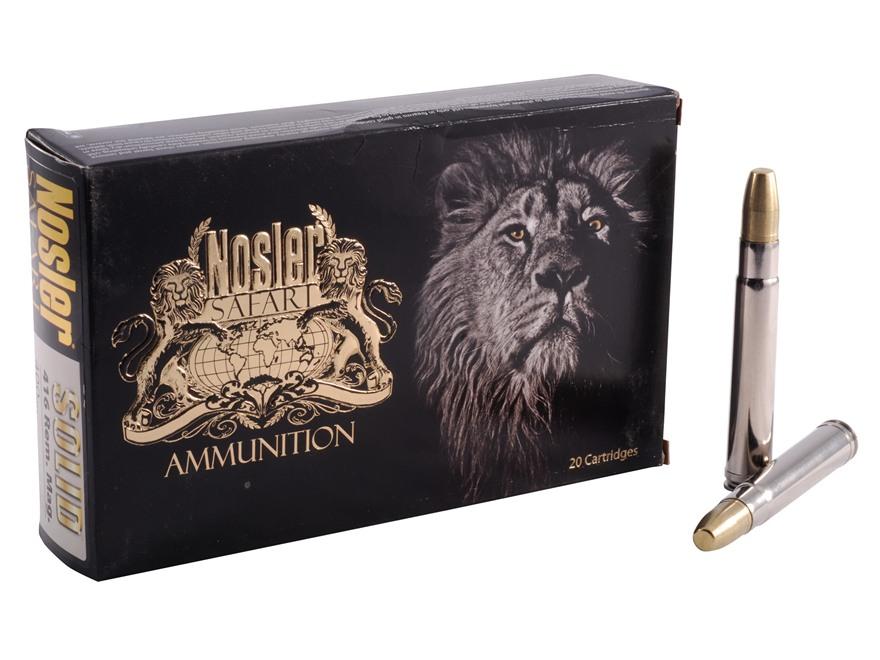 Nosler Safari Ammunition 416 Remington Magnum 400 Grain Solid Box of 20
