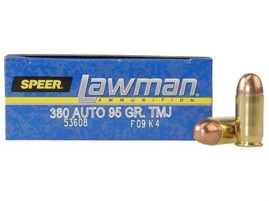 Speer Lawman Ammunition 380 ACP 95 Grain Total Metal Jacket Box of 50
