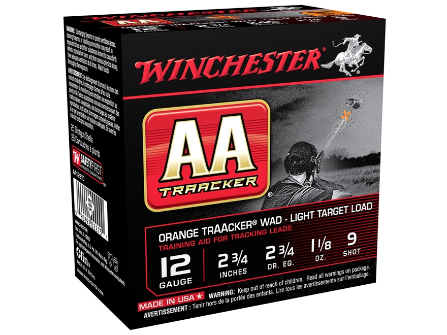 """Winchester AA Light TrAAcker Ammunition 12 Gauge 2-3/4"""" 1-1/8 oz #9 Shot"""