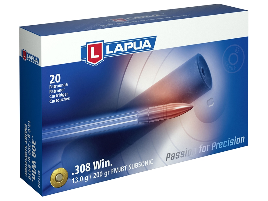Lapua Ammunition 308 Winchester Subsonic 200 Grain Full Metal Jacket Box of 20