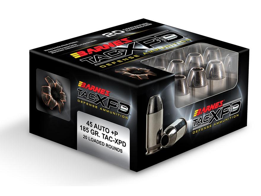 Barnes TAC-XPD Ammunition 45 ACP +P 185 Grain TAC-XP Hollow Point Lead-Free Box of 20