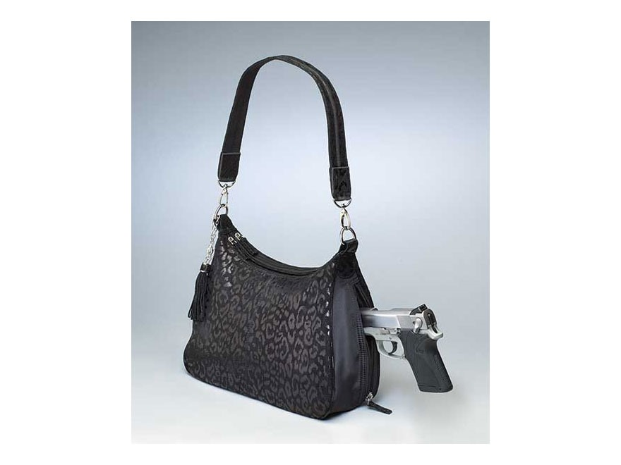 Gun Tote'N Mamas Basic Hobo Handbag Debossed Sueded Leather Black