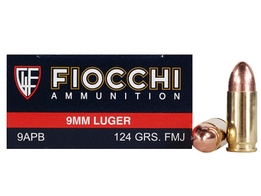 Fiocchi Shooting Dynamics Ammunition 9mm Luger 124 Grain Full Metal Jacket Box of 50