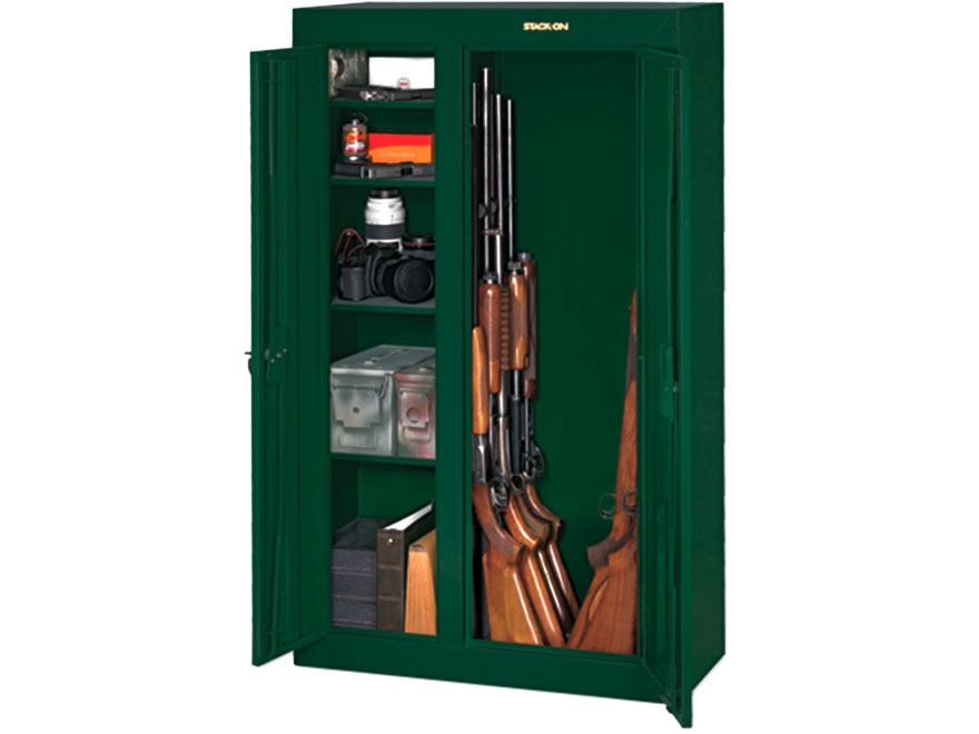 Stack on double door steel security 10 gun cabinet for 10 gun double door steel security cabinet
