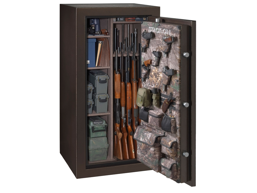 stackon woodland fire resistant gun safe with backlit electronic lock brown hammertone