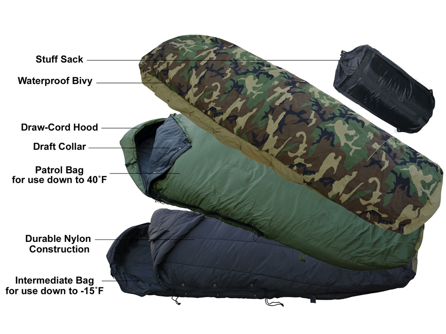 MidwayUSA Military Style 4-Piece ECWS Sleeping Bag