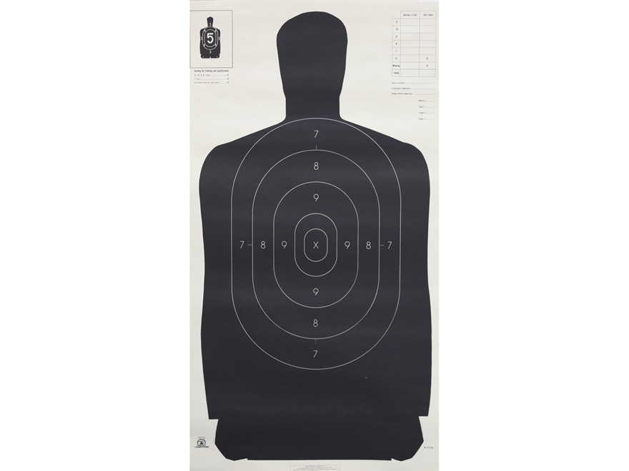 Nra official silhouette targets b 27 24 quot 50 yard paper black white