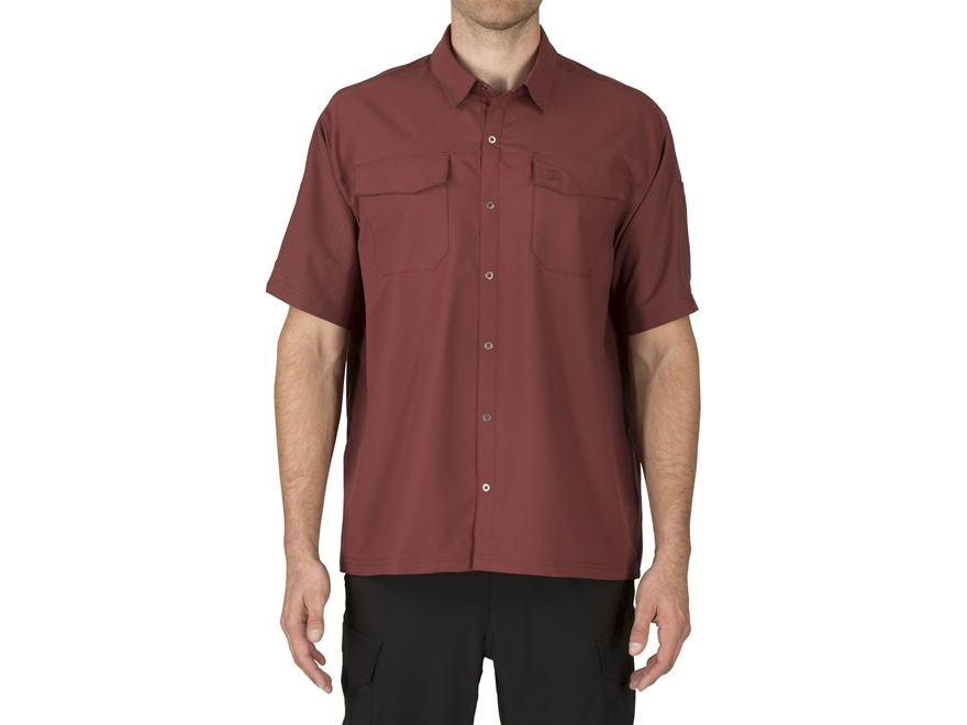 men 39 s freedom flex button up shirt short sleeve polyester